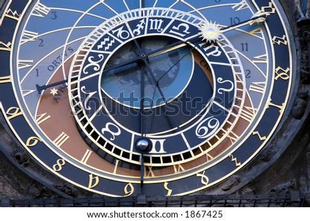 Astronomic clock in the old town Praha, Czech Republic - stock photo