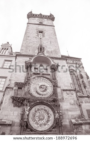 Astronomical Clock by Hanus (1490) and Old Town Hall Tower; Stare Mesto Neighborhood; Prague; Czech Republic in Black and White Sepia Tone