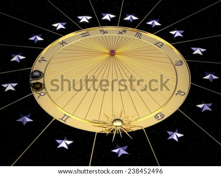 Astronomical clock in gold with zodiac signs - stock photo