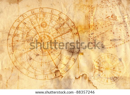 astronomical clock in grunge style - stock photo