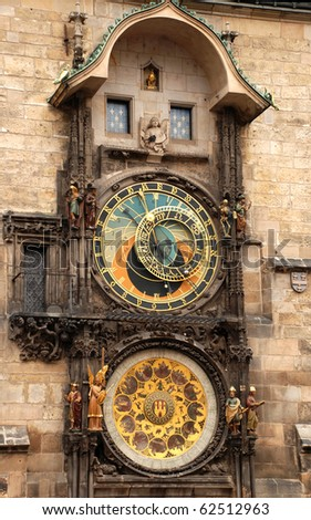 Astronomical clock in Prague. Czech - stock photo