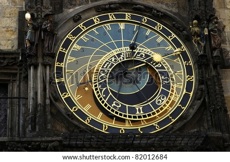 Astronomical clock in Prague - Czech,  in the Old Town Square.