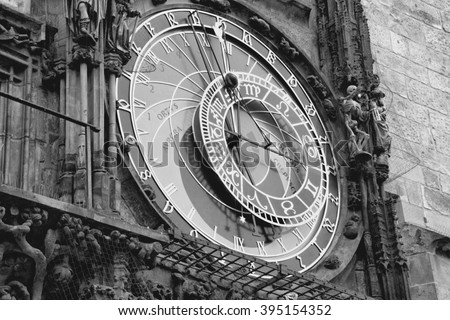 Astronomical clock in Prague, Czech Republic. Black and white retro style. - stock photo