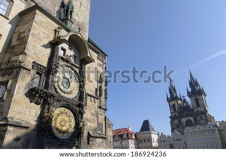 Astronomical Clock in Prague's Old Town Square - stock photo
