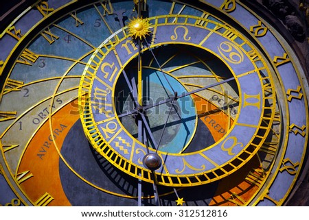 Astronomical Clock in the Old Town of Prague - stock photo