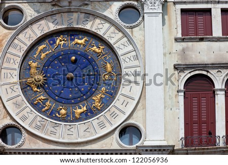 astronomical clock in Venice, Italy, on Piazza San Marco