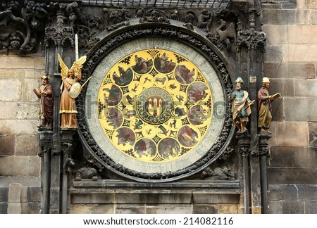 Astronomical Clock of Orloj  in the Old Town of Prague, Czech Republic. - stock photo