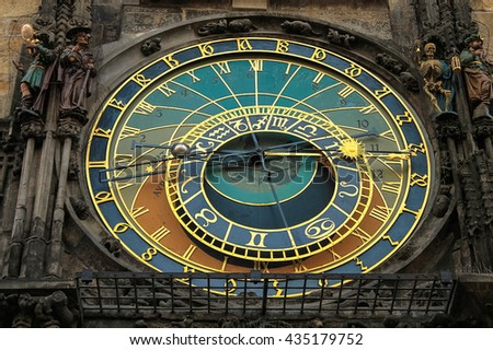 Astronomical clock, on the Southern wall of the  old town hall, in the old town square. Prague, Czech Republic