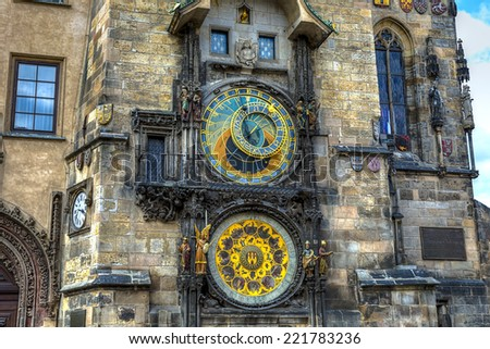 Astronomical Clock (Orloj) in the Old Town of Prague  - stock photo