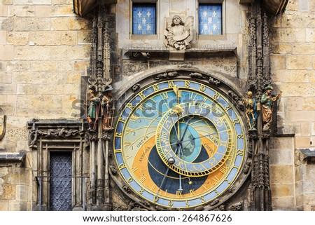 Astronomical Clock (Orloj) in the Old Town of Prague. Czech Repubilc - stock photo