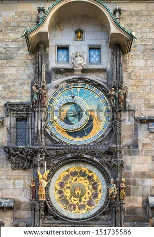 Astronomical Clock (Orloj) in the Old Town of Prague, Czech Republic - stock photo
