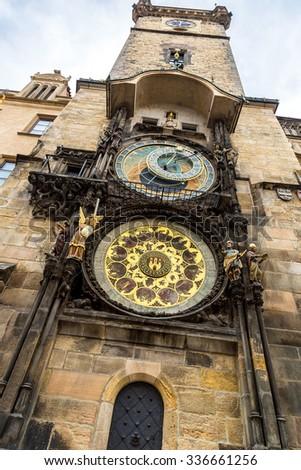 Astronomical Clock. Prague. Czech Republic in a summer day - stock photo