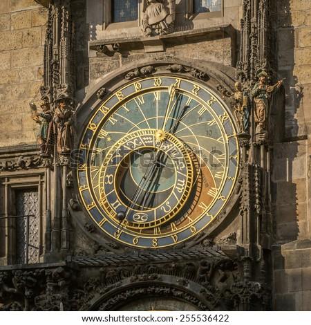 Astronomical clock (Prague orloj) on Old Town Hall Tower, Prague, Czech Republic - stock photo