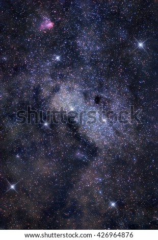 Astronomical photograph of bright stellar cloud in Sagittarius constellation - stock photo