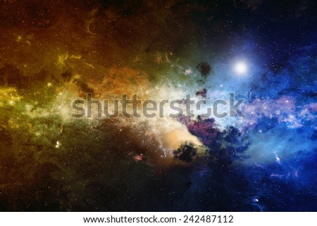 Astronomical scientific background, nebula and stars in deep space, glowing mysterious universe. Elements of this image furnished by NASA nasa.gov - stock photo