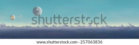 Astronomy. Desert on the blue planet. Digital background raster illustration.  - stock photo