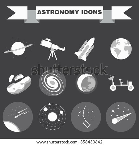 Astronomy Flat Raster Icons Set. Science objects for infographics, flyers, banners, brochures, books or booklets. Digital Illustrations on a space theme. The universe, galaxies and stars.