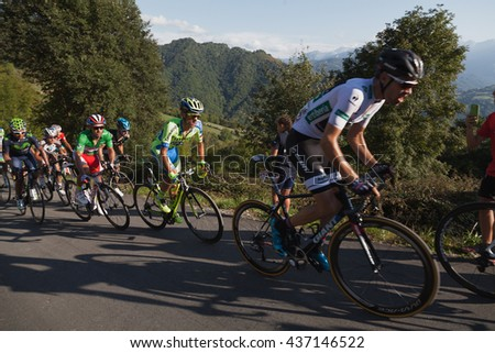 "ASTURIAS, SPAIN. September 07th 2015.Tom Dumoulin pursued by Rafal Majka and Joaqui­n ""Purito"" Rodri­guez climbing to Ermita del Alba in the last meters of the 16th stage of ""La Vuelta"""