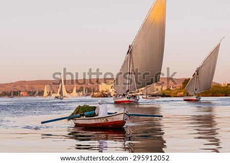 Aswan, Egypt - October 16, 2008: Two feluccas sail at sunset on the Nile river towards the camera while a rowboat carrying fodder crosses in front