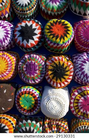 Aswan market Colorful Hats - stock photo