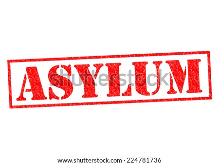 ASYLUM red Rubber Stamp over a white background. - stock photo