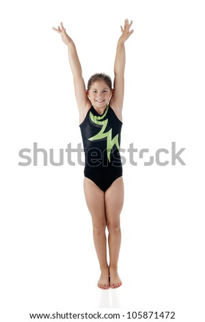 Jumping Little Girl Swimsuit Isolated On Stock Photo ...