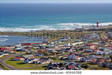 At Cape Agulhas in South Africa, the most southern point in Africa, where two oceans meet - stock photo