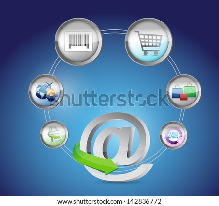 at E-Commerce and Online Shopping Concept illustration design over white - stock photo