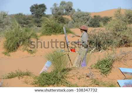 At Home in the Landscape. Debra Hilditch, landscape painter working in the Kalahari desert, South Africa