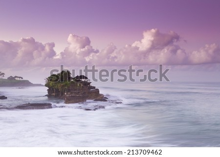 At morning in Tanah lot temple Kuta  Bali island  Indonesia - stock photo