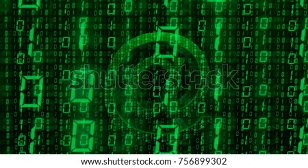 at Sign green binary code wallpaper