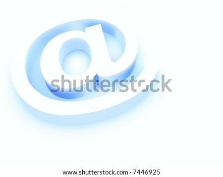 At Sign in Blue Pastel Against White - stock photo
