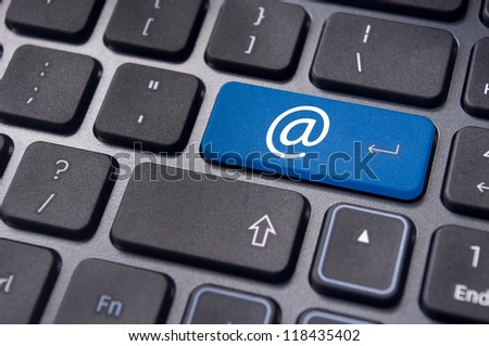 at sign or ampersat on keyboard enter key, for email concepts. - stock photo