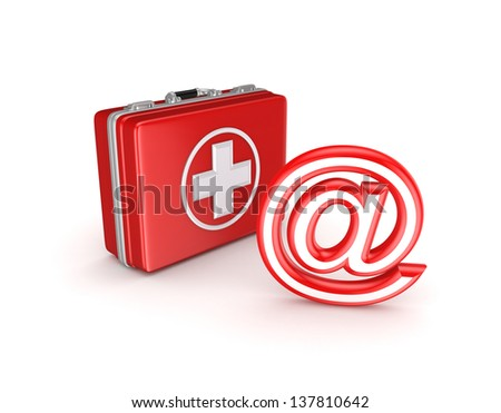 AT symbol and medical suitcase.Isolated on white background.3d rendered. - stock photo