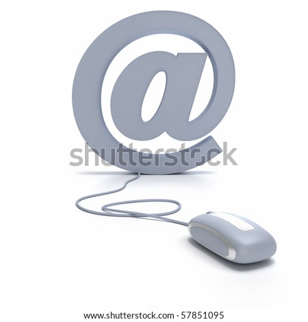 At symbol connected to a computer mouse