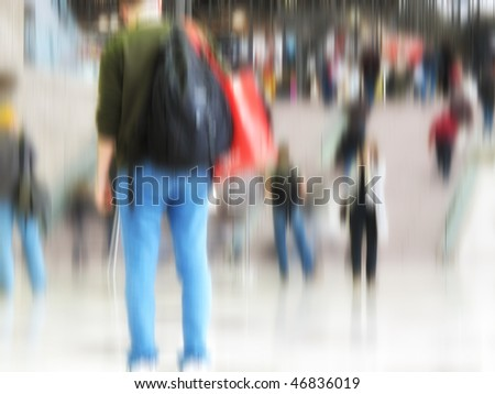 At the airport - motion and lens blurred people - stock photo