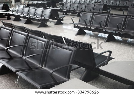 At the airport - waiting hall at a gate - stock photo