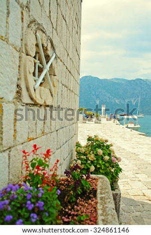 At the artificial island Gospa od Åkrpjela, near Perast, Kotor bay, Montenegro - stock photo
