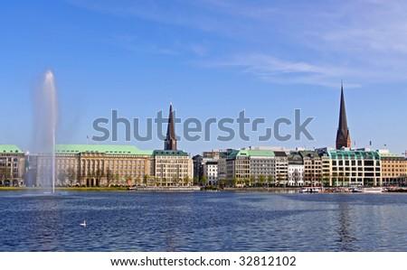 """At the """"Binnenalster"""", Hamburg - stock photo"""