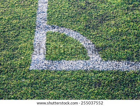 at the corner of football field - stock photo