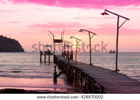At the End of the Day Nightfall by the Sea  - stock photo