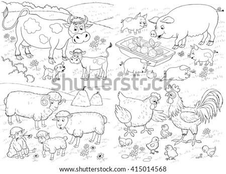 farm small set cute farm animals stock illustration 415014568 shutterstock. Black Bedroom Furniture Sets. Home Design Ideas