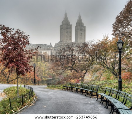 At the Lake in Central Park on a misty autumn day - stock photo