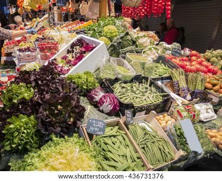 At the market in La Boqueria (Barcelona) - stock photo