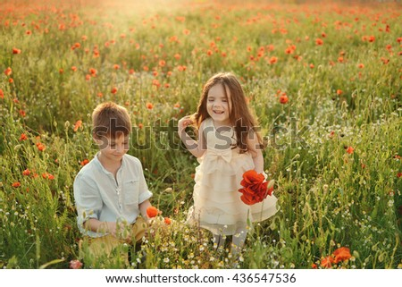at the spring flower field little boy and girl collect red poppies