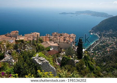 At the top of a hill, direct on the sea, the village of Eze is one of the picturesques spot of the French Riviera - stock photo