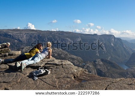 At the top of Pulpitis Rock (Preikestolen). Norway. - stock photo