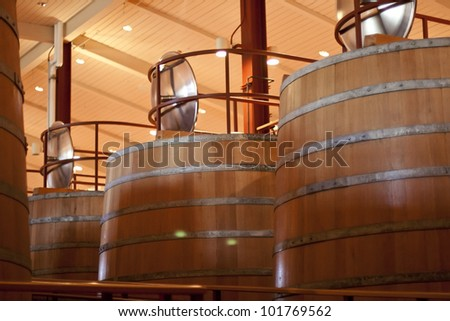 At the Winery, factory, Huge barrels - stock photo