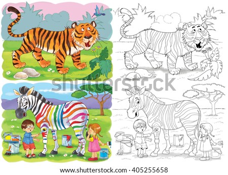 African Animals A Tiger And Zebra Illustration For Children