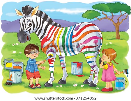 At the zoo. African animals. Cute boy and girl are painting zebra's strips in different colors. Illustration for children. Coloring book. Coloring pages. Cartoon characters.  - stock photo